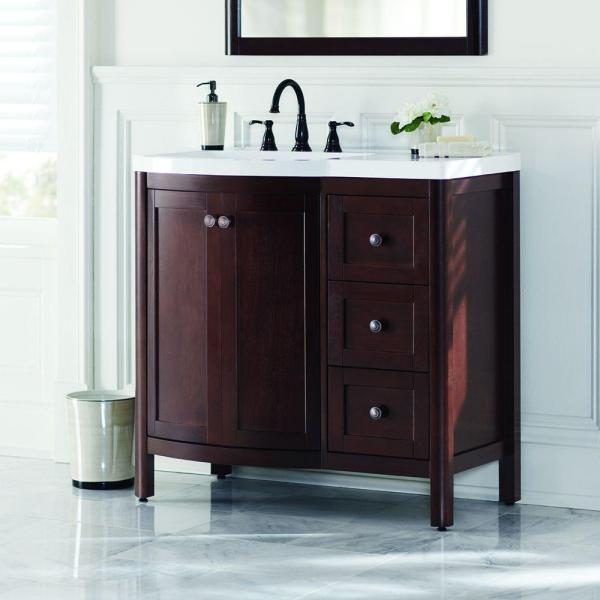 Home Decorators Collection Madeline 36 in. Vanity in Chestnut with Alpine  Vanity Top in White-MD36P2COM-CN - The Home Depot - Home Decorators Collection Madeline 36 In. Vanity In Chestnut With