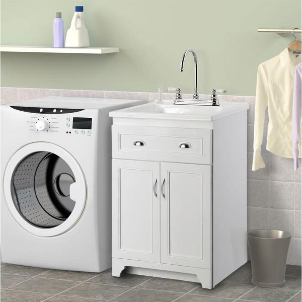 Laundry Vanity In White And Abs Sink In White And Faucet Kit Kewa2421 The Home Depot