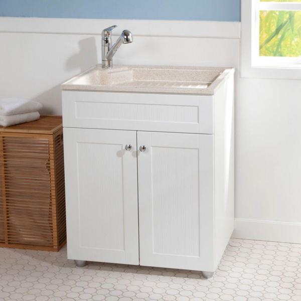Glacier Bay All In One 27 In W X 21 8 In D Colorpoint Laundry Sink With Faucet And Storage Cabinet Bcp2732com Wh The Home Depot