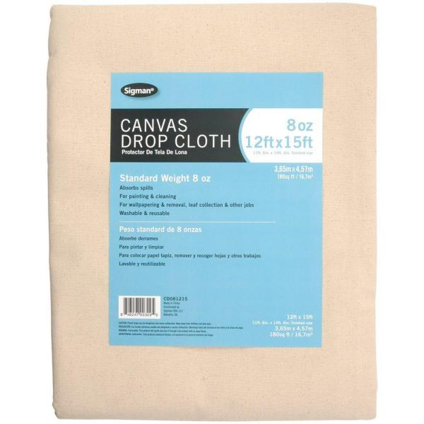 Sigman 11 ft. 6 in. x 14 ft. 6 in., 8 oz. Canvas Drop Cloth ...