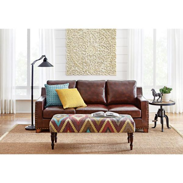Home Decorators Collection Garrison Collection in Brown Bonded Leather