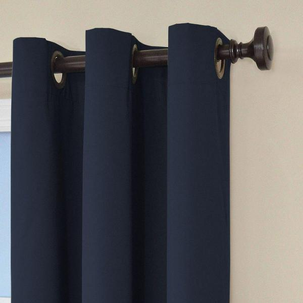 Eclipse Microfiber Blackout Navy Grommet Curtain Panel, 95 in ...