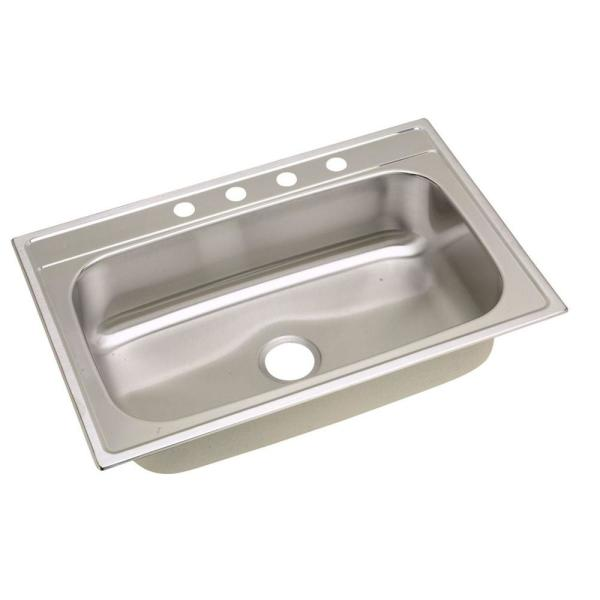 elkay signature drop-in stainless steel 33 in. 4-hole single basin
