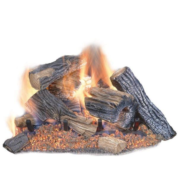 Emberglow Burnt River Oak 18 in. Vented Dual Burner Natural Gas Fireplace  Logs-BRO18NG - The Home Depot - Emberglow Burnt River Oak 18 In. Vented Dual Burner Natural Gas