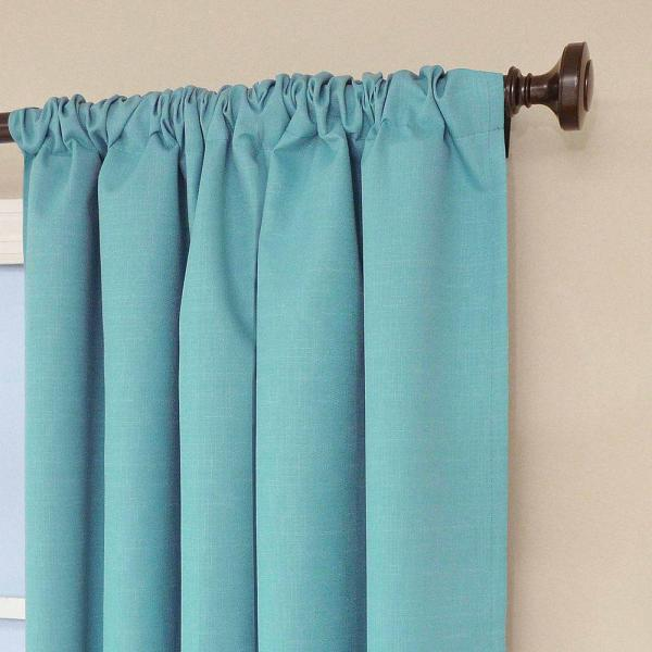 eclipse kendall blackout turquoise curtain panel, 84 in. length