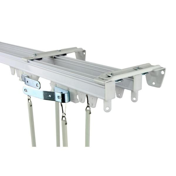 Curtain Rods ceiling mounts for curtain rods : Rod Desyne 192 in. Commercial Wall/Ceiling Double Track Kit-TK16W ...