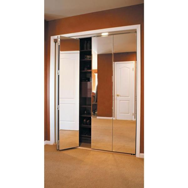 Polished Edge Mirror Solid Core MDF Interior Closet Bi Fold Door With  Chrome Trim PMP34810070C   The Home Depot