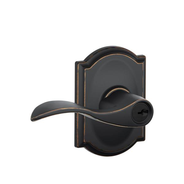 Schlage Camelot Collection with Accent Lever in Aged Bronze
