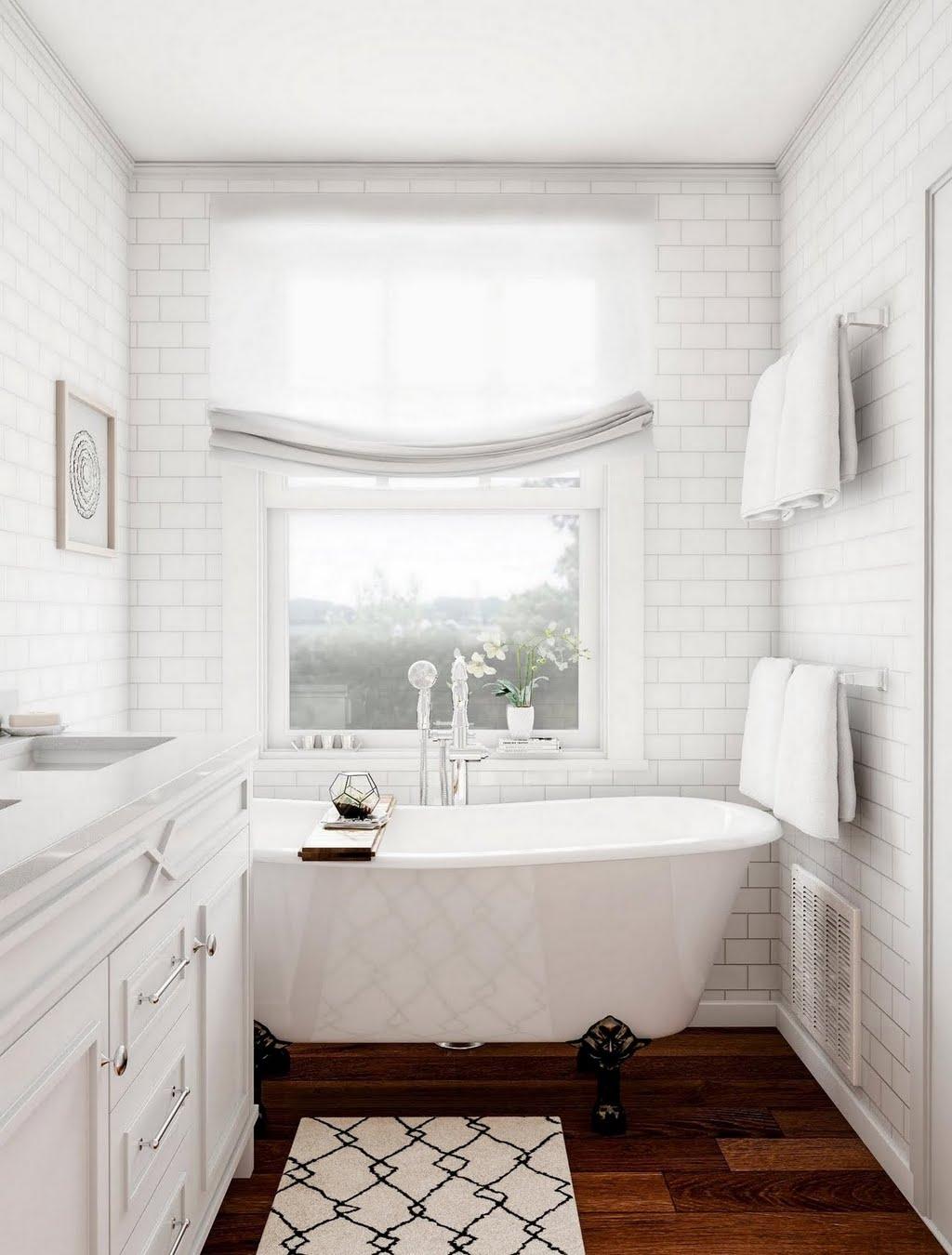 All-White Bathroom with Dark Floors – Bathroom – The Home Depot