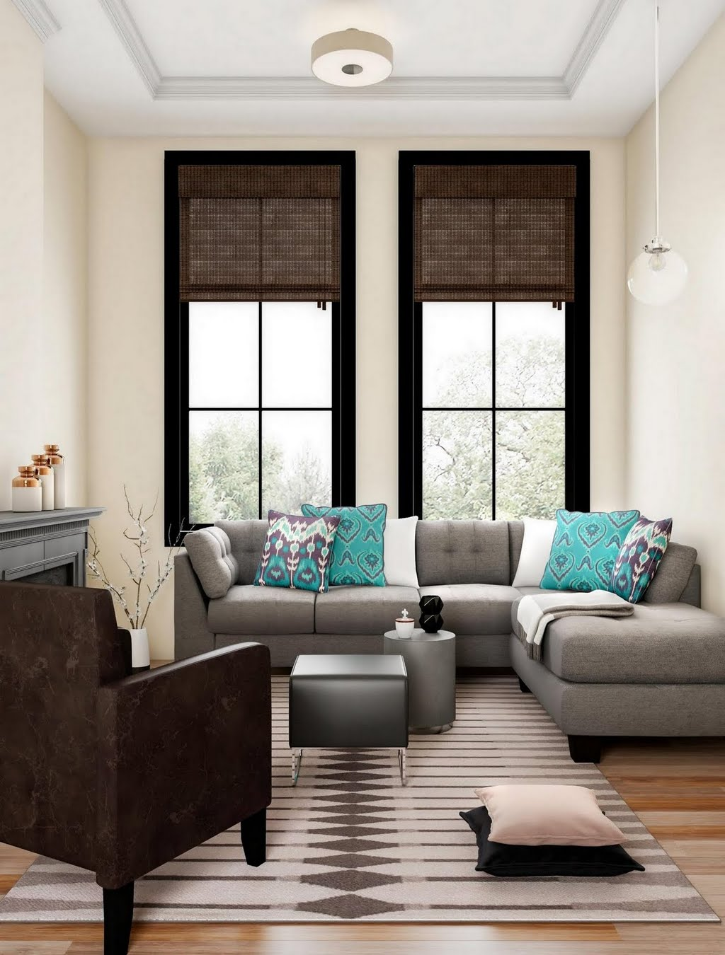 Georgian Living Room With Turquoise Accents The Home Depot