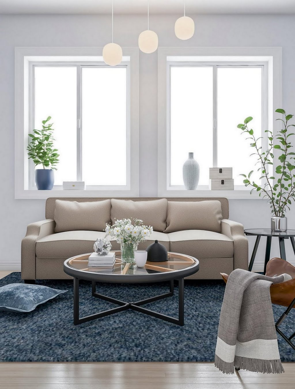 Clic Living Room With Denim Blue Accents The Home Depot
