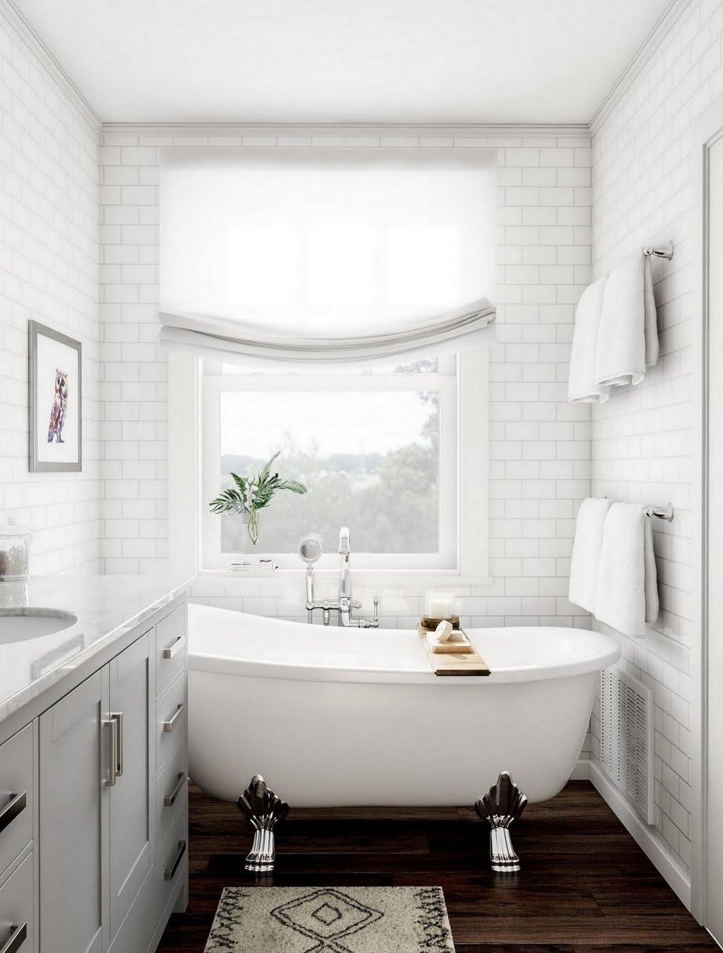 Gray Bathroom with Subway Tile – Bathroom – The Home Depot