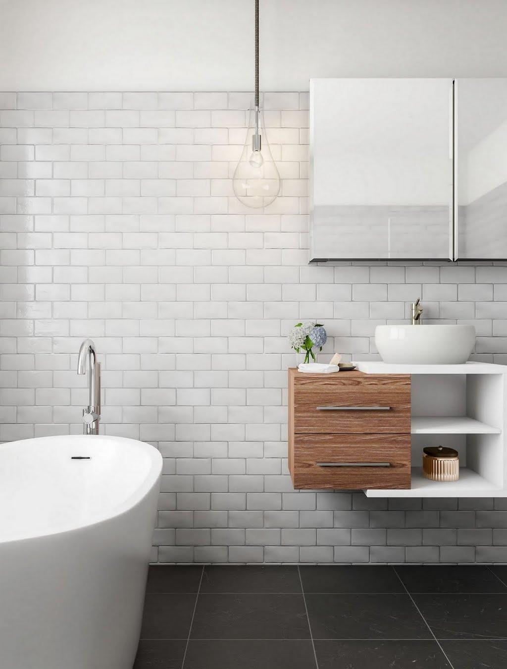 Modern Minimalist White Bathroom – Bathroom – The Home Depot