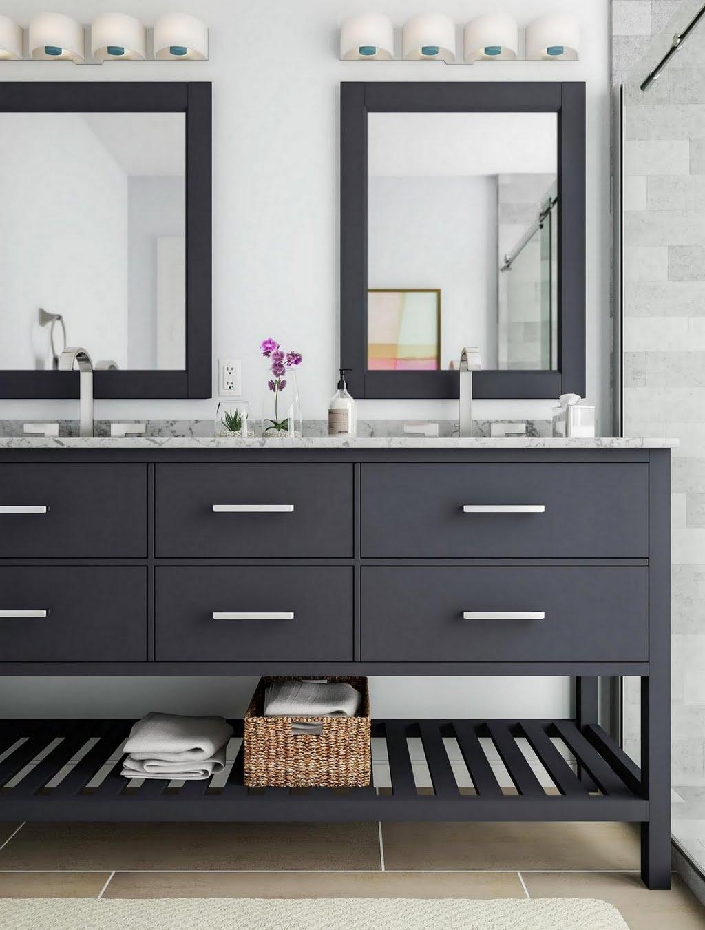 Open-Shelf Bathroom Vanity – Bathroom – The Home Depot