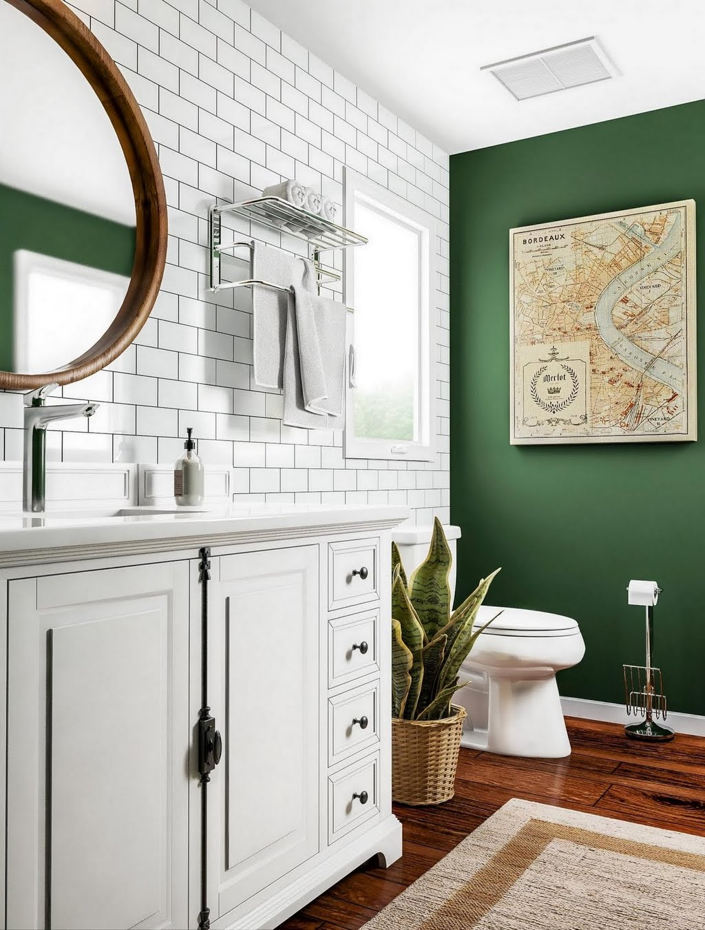 Modern Green Bathroom with Subway Tile – Bathroom – The Home Depot