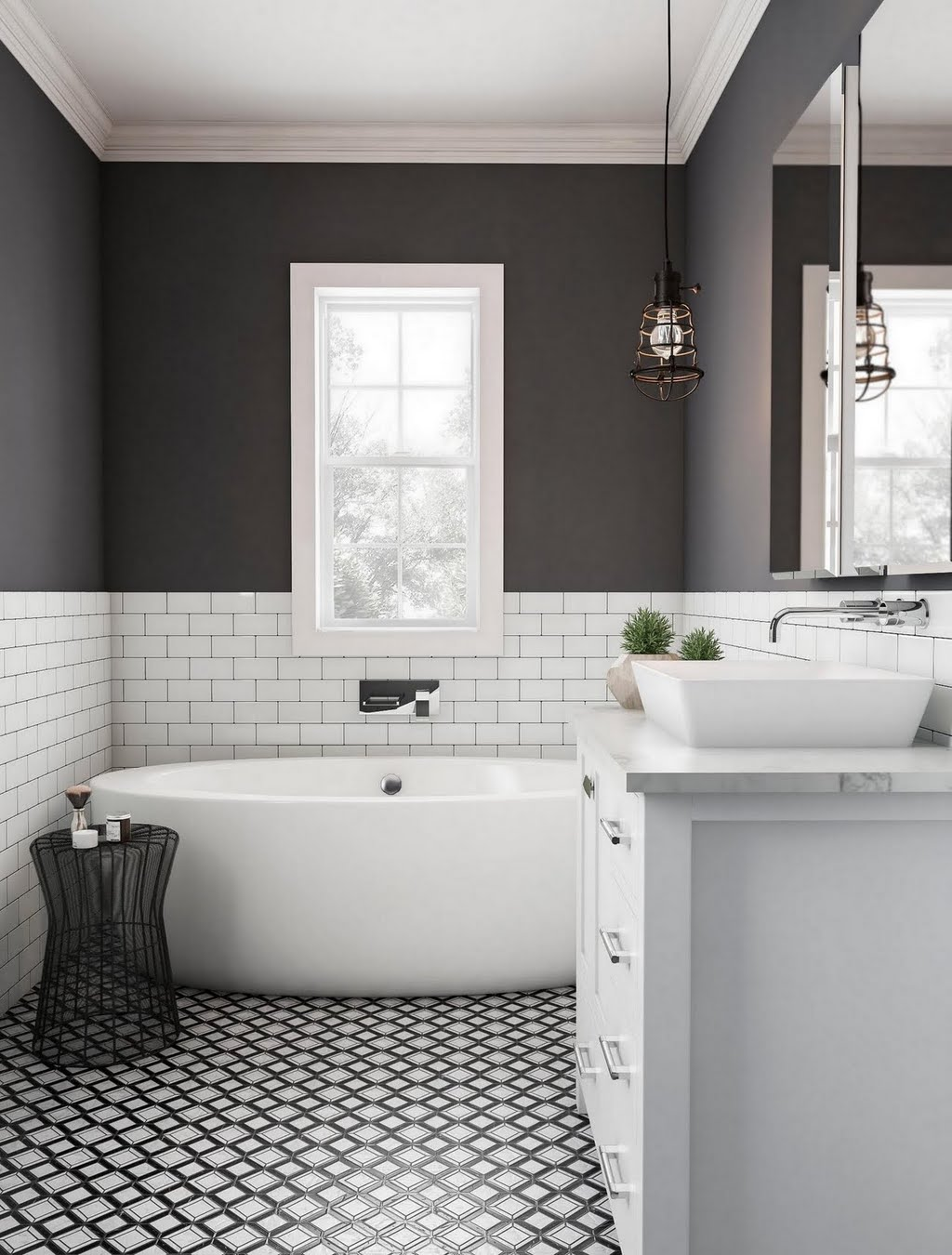 Modern Dark Bathroom with Tile Wainscoting – Bathroom – The Home Depot