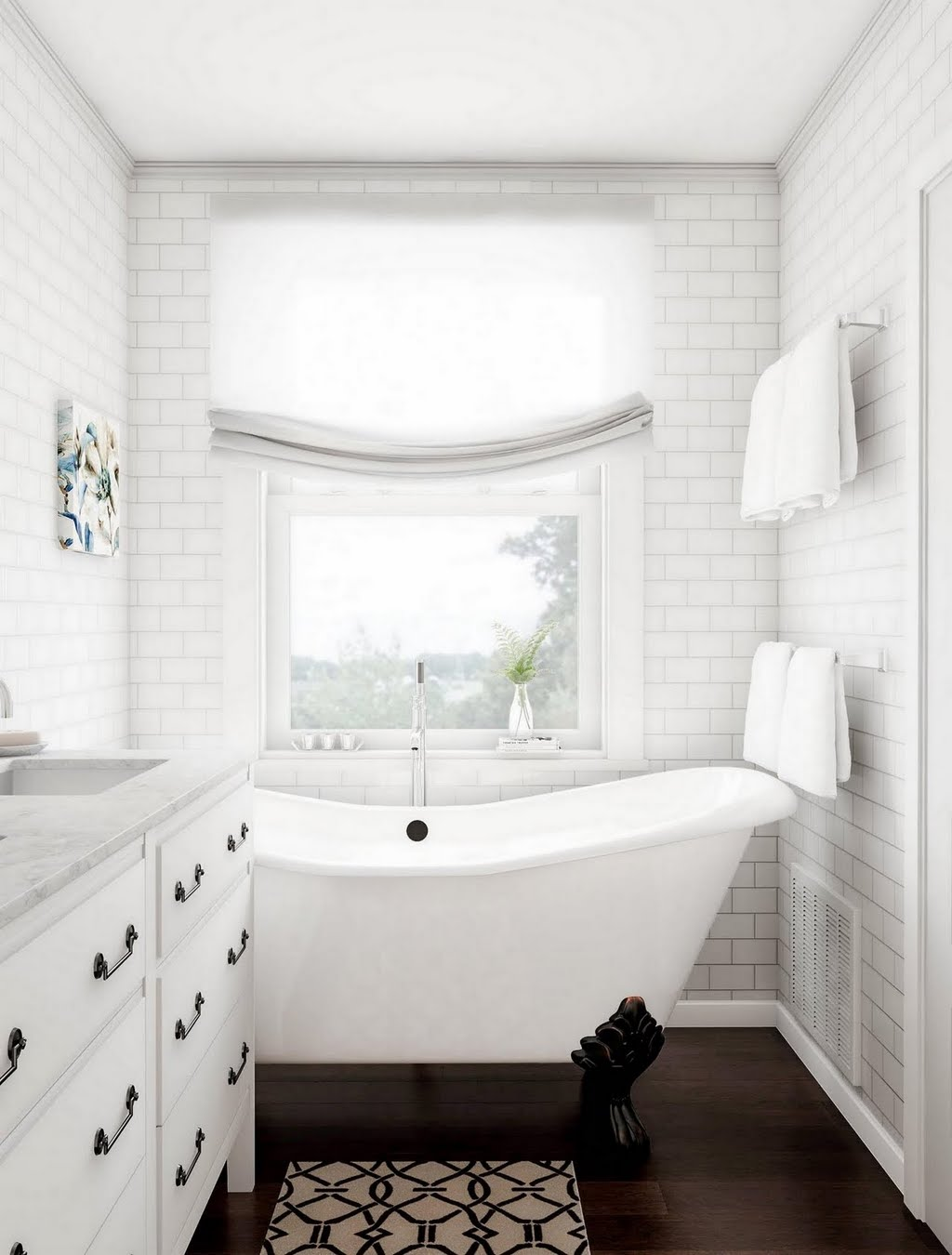 Gray and White Tile Bathroom – Bathroom – The Home Depot