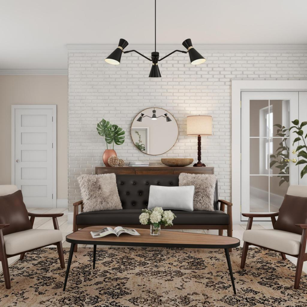 Muted Mid-Century Living Room – Living Room – The Home Depot