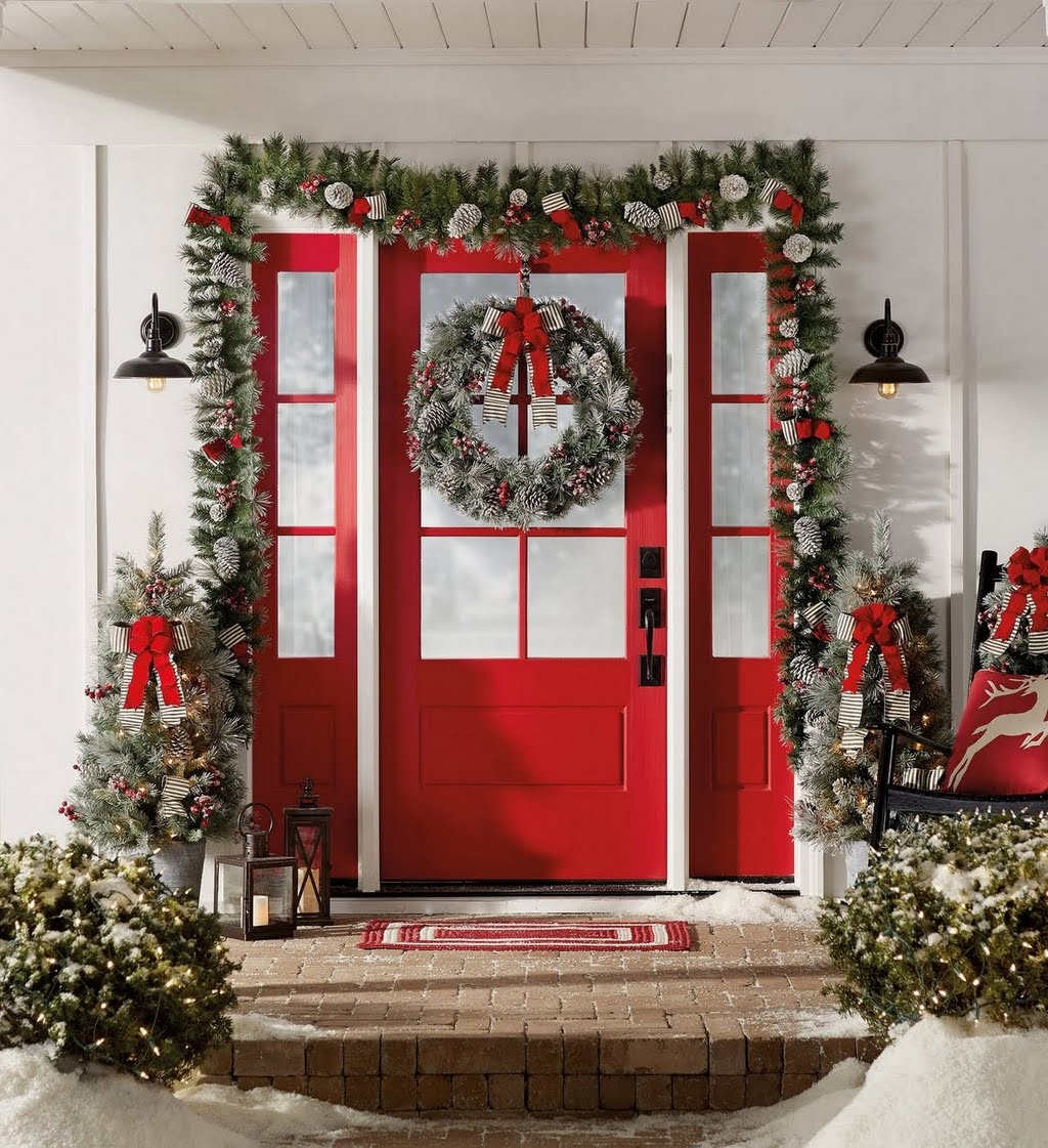 holiday farmhouse front door entryway the home depot - Entryway Christmas Decorations