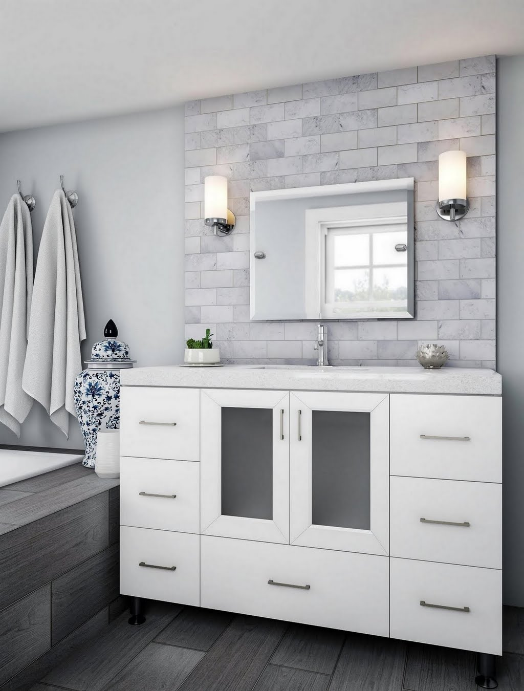 Gray Subway Tile Sink Surround – Bathroom – The Home Depot
