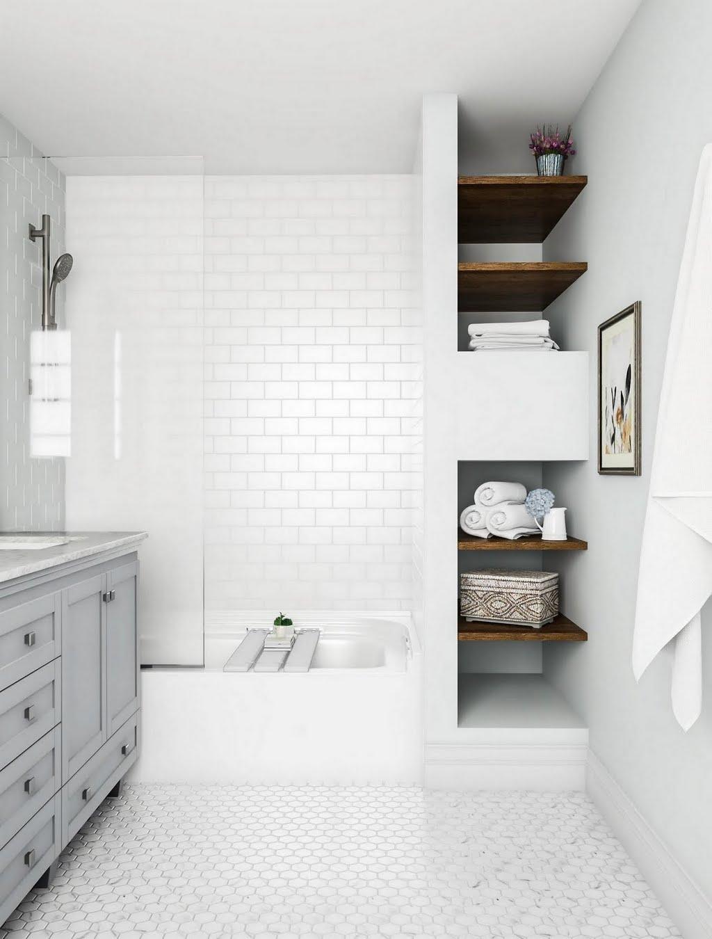 Classic White Tile Bathroom – Bathroom – The Home Depot