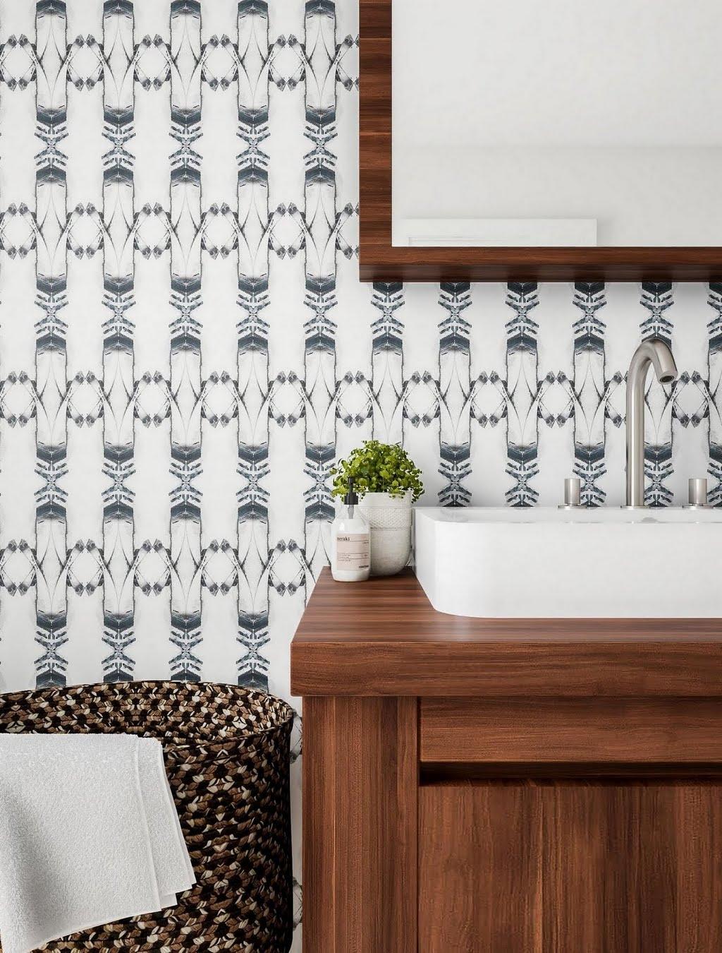 Modern Bathroom with DIY Wallpaper – Bathroom – The Home Depot