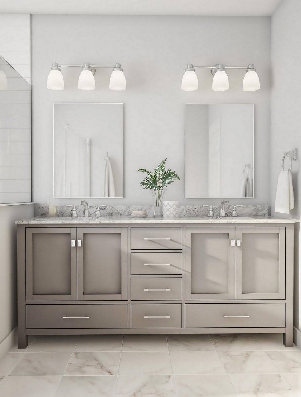 Glam Gray Shared Vanity – Bathroom – The Home Depot