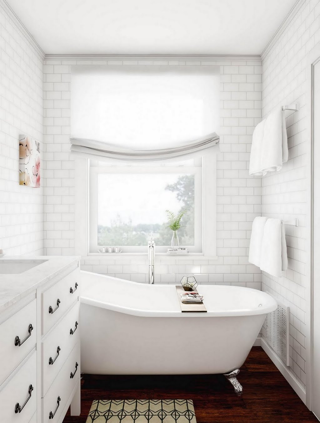 Bathroom with White Tile Walls – Bathroom – The Home Depot