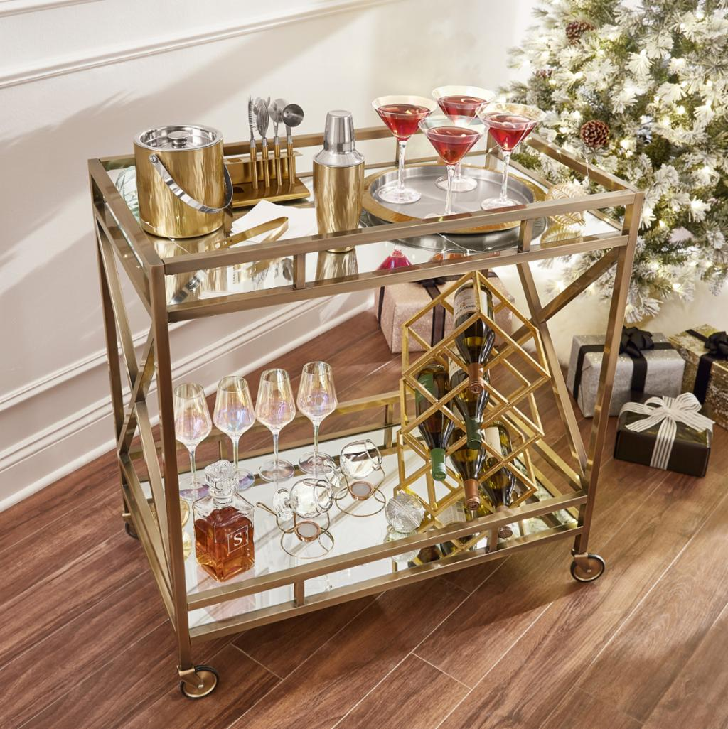 Holiday Glamour Bar Cart Shop By Room The Home Depot