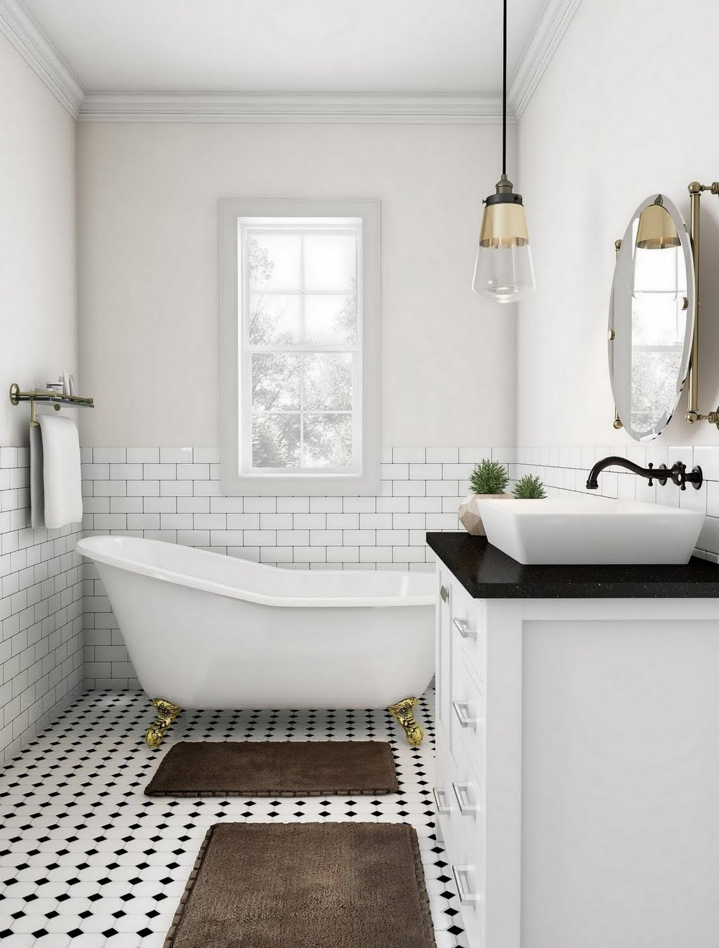 White and Bronze Accent Bathroom – Bathroom – The Home Depot