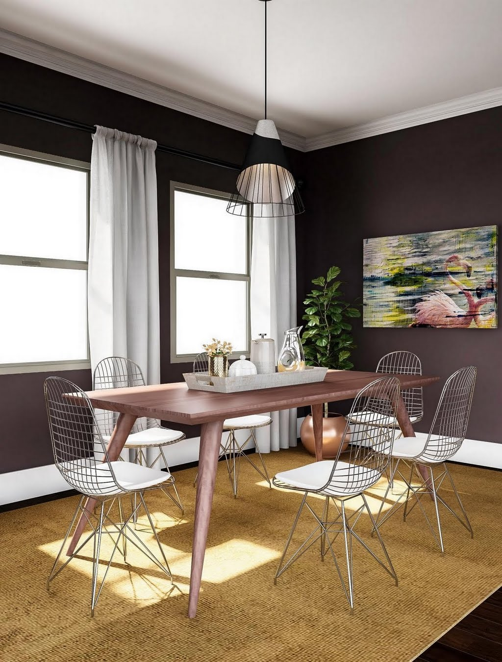 Wood and wire modern dining room dining room the home depot