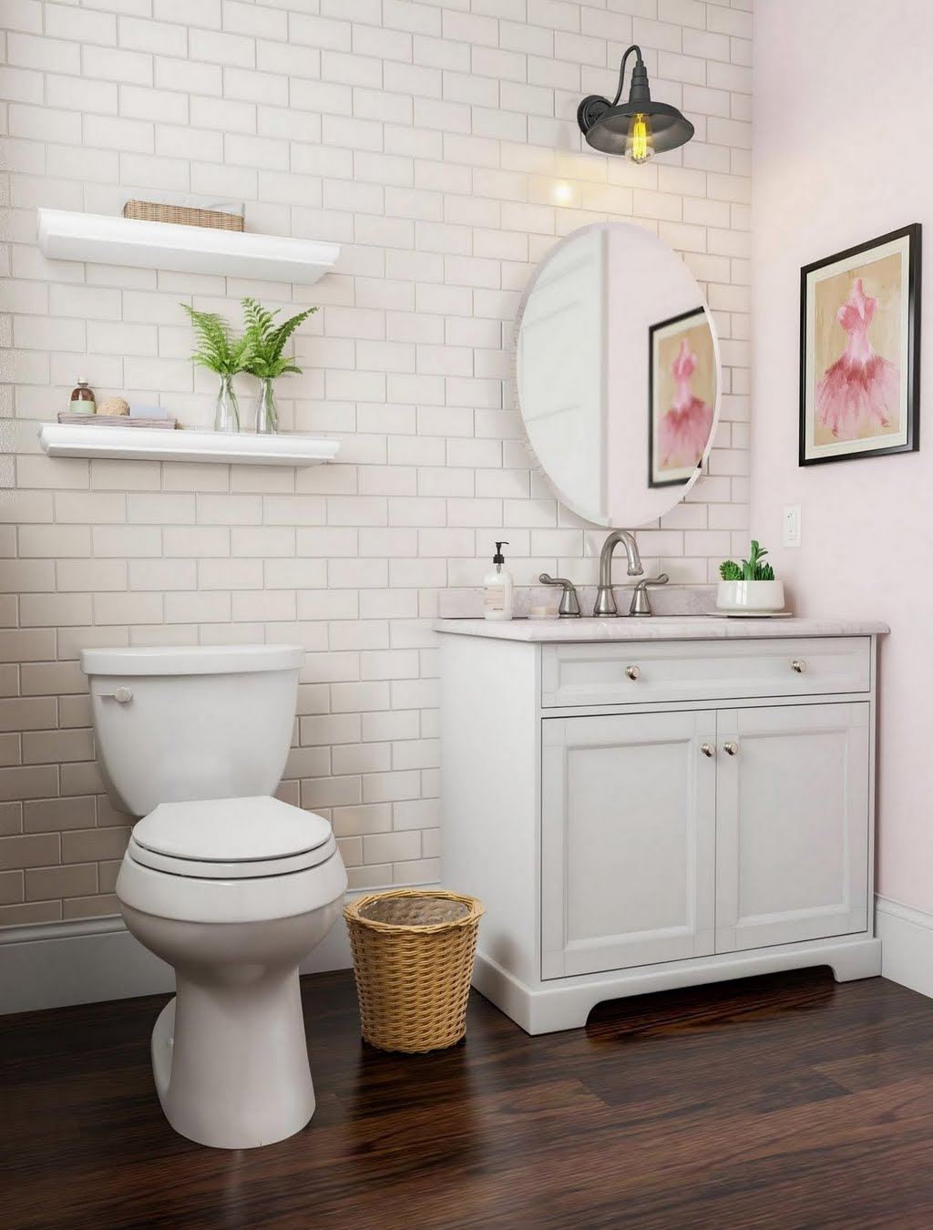 Airy White Bathroom with Subway Tile – Bathroom – The Home Depot