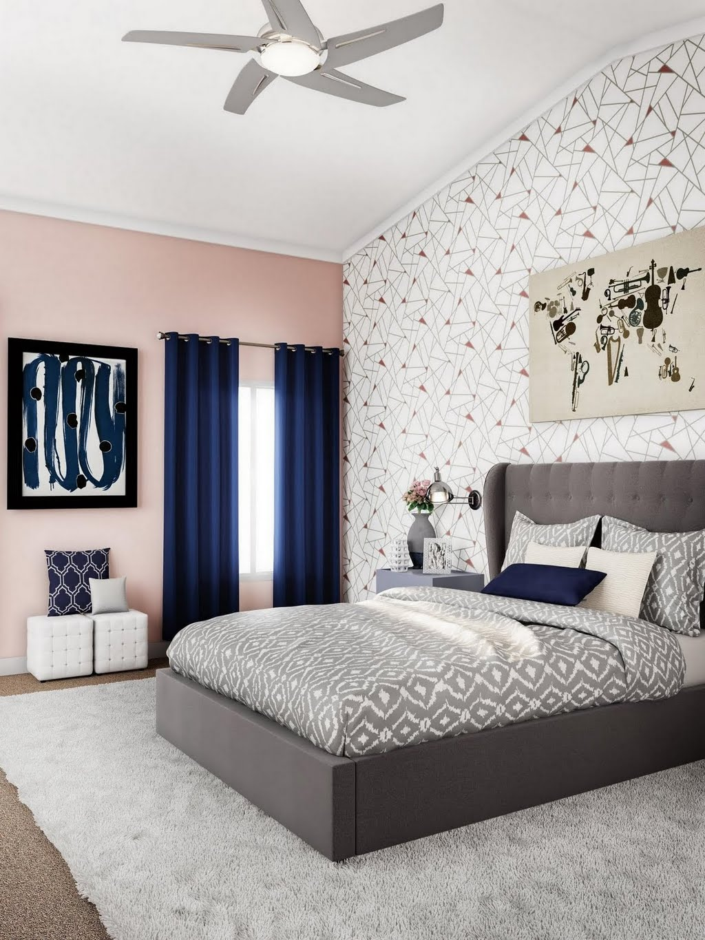 Modern Pink and Gray Bedroom with