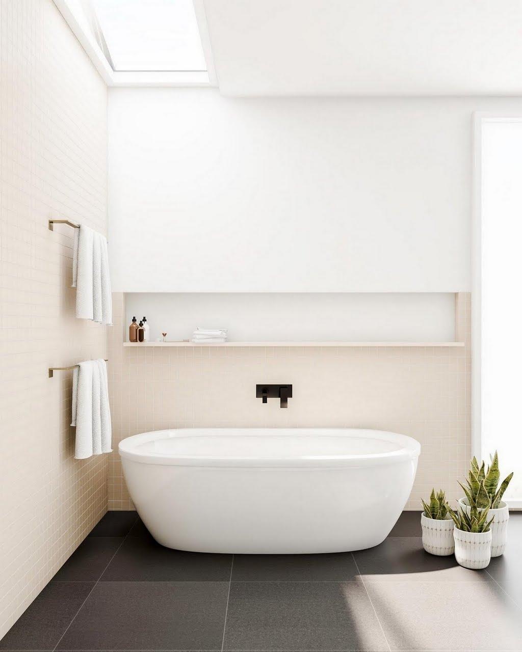Beige and Charcoal Spa Bathroom – Bathroom – The Home Depot