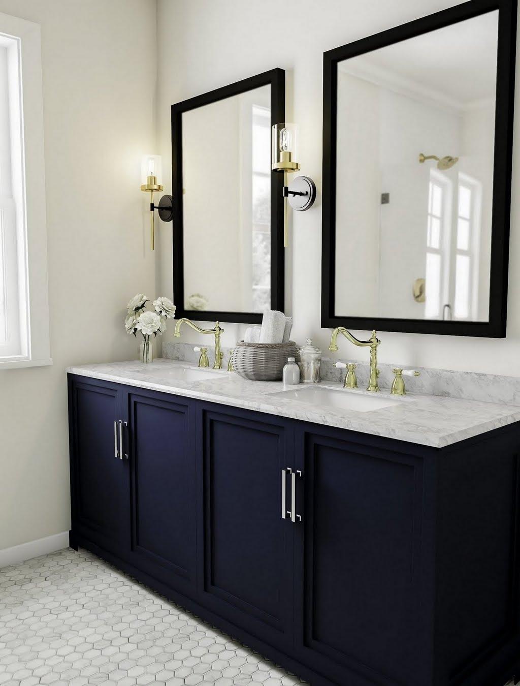 Traditional Bathroom With Dark Blue Vanity Bathroom The Home Depot