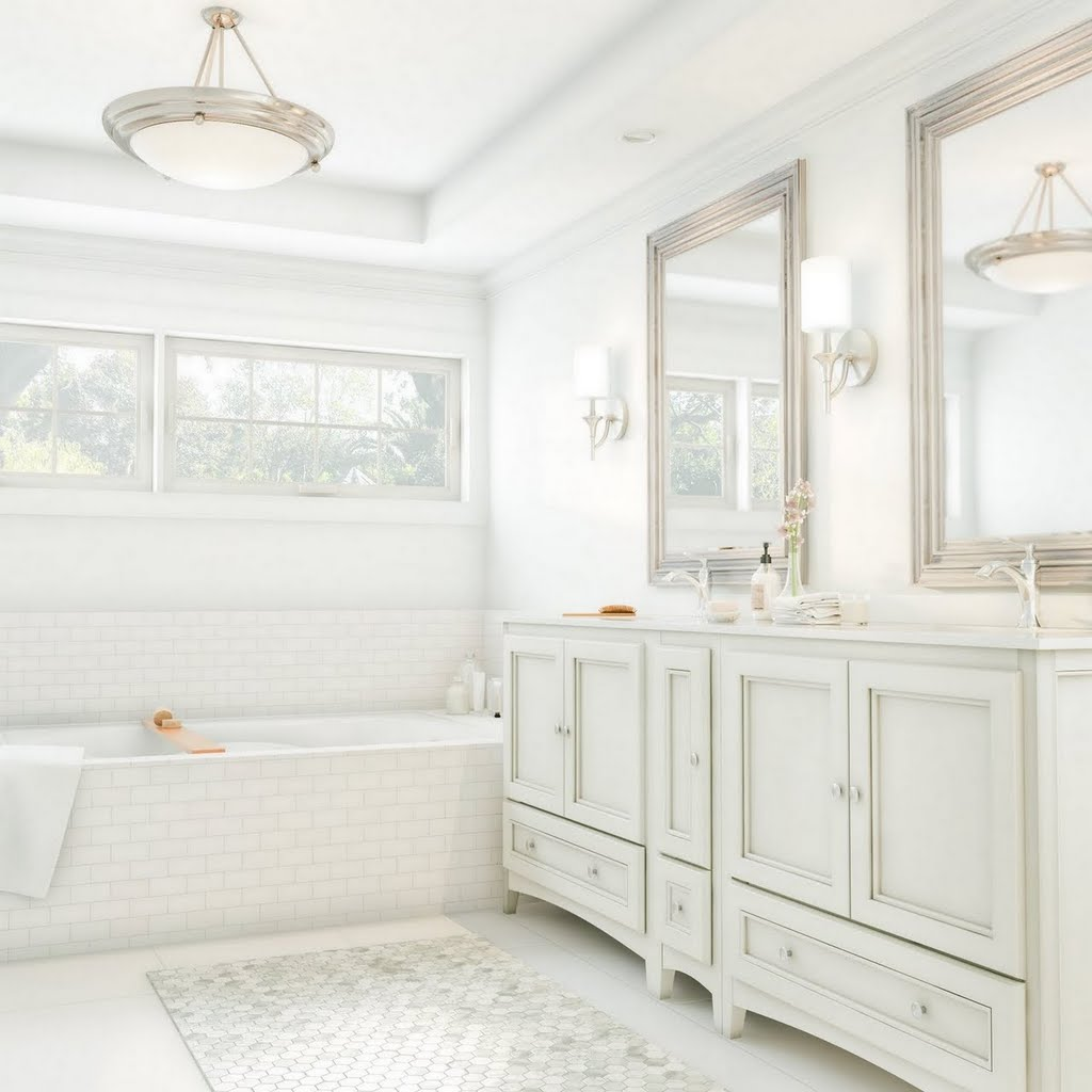 Bright White Master Bath Bathroom