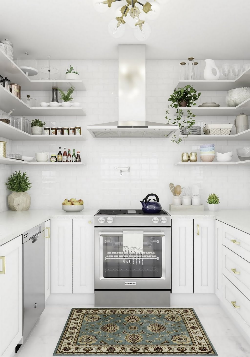 Modern White Kitchen with Open Shelving – Kitchen – The Home Depot