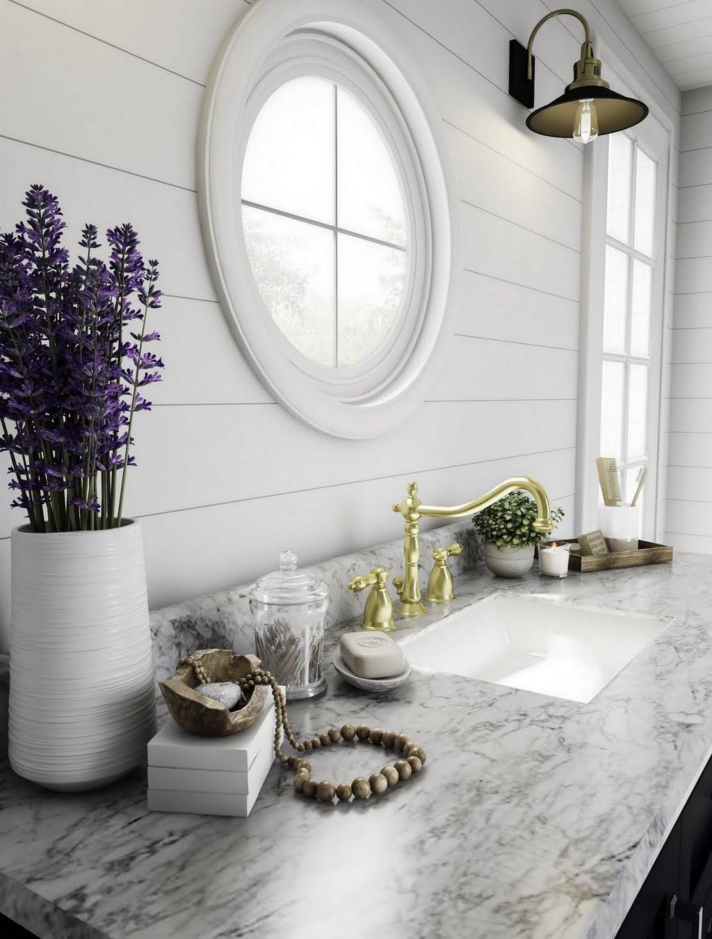 Coastal Bathroom with Porthole Window – Bathroom – The Home Depot