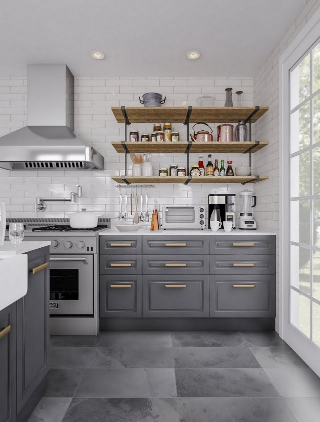 Cottage Kitchen in Deep Grays