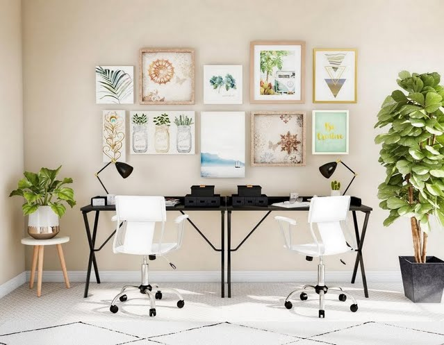 Beige Home Office for Two