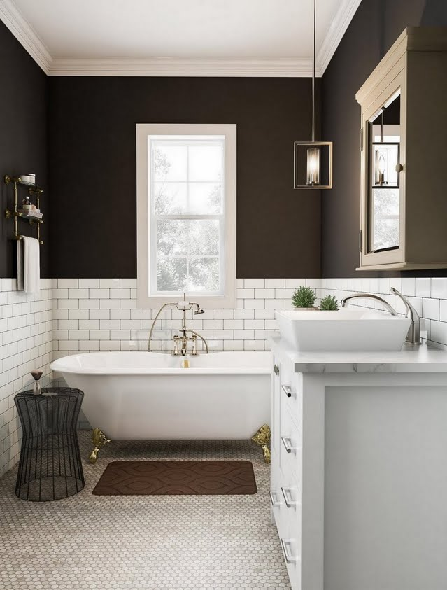 Dark Earth-Toned Bathroom