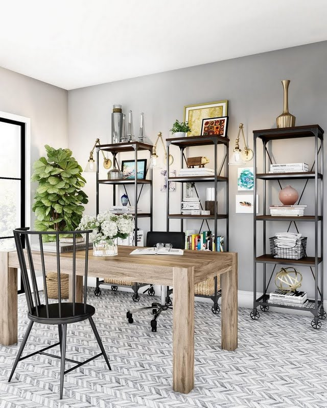 Classic Home Office with Open Shelving