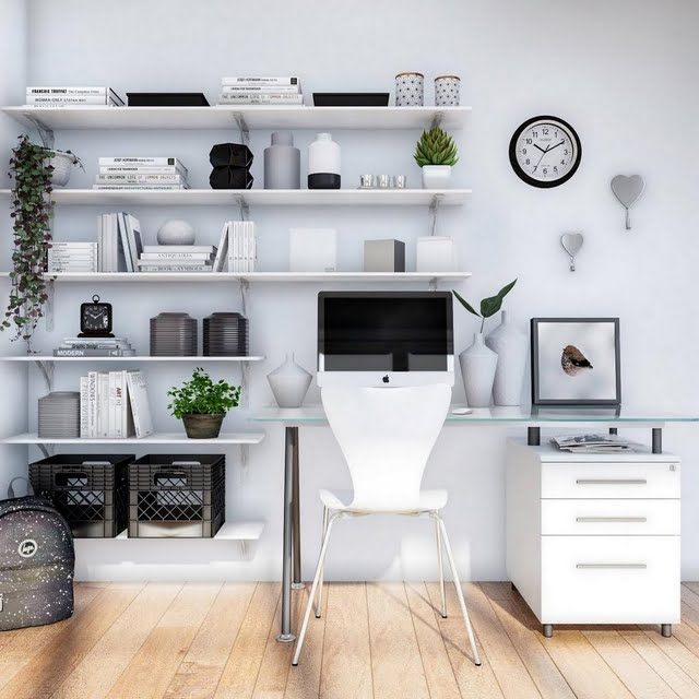 Modern Pale Gray Home Office