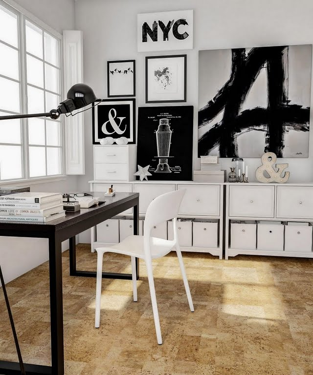 Industrial Black and White Home Office