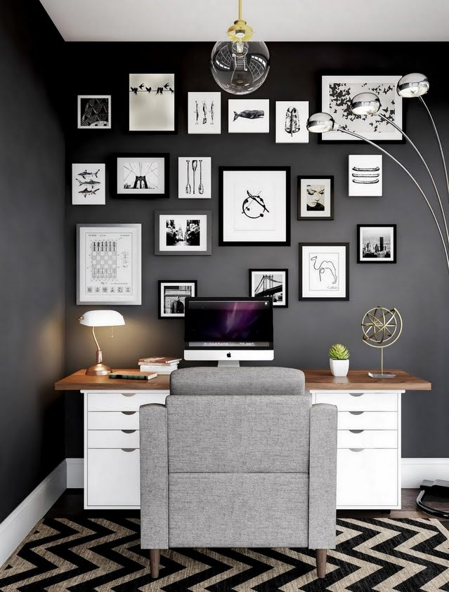 Charcoal Home Office with Gallery
