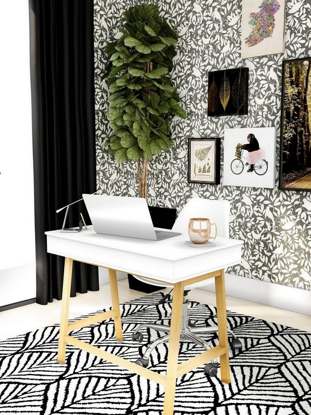 Black Patterned Home Office