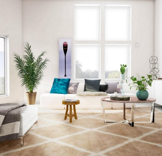Modern Living Room with Foliage