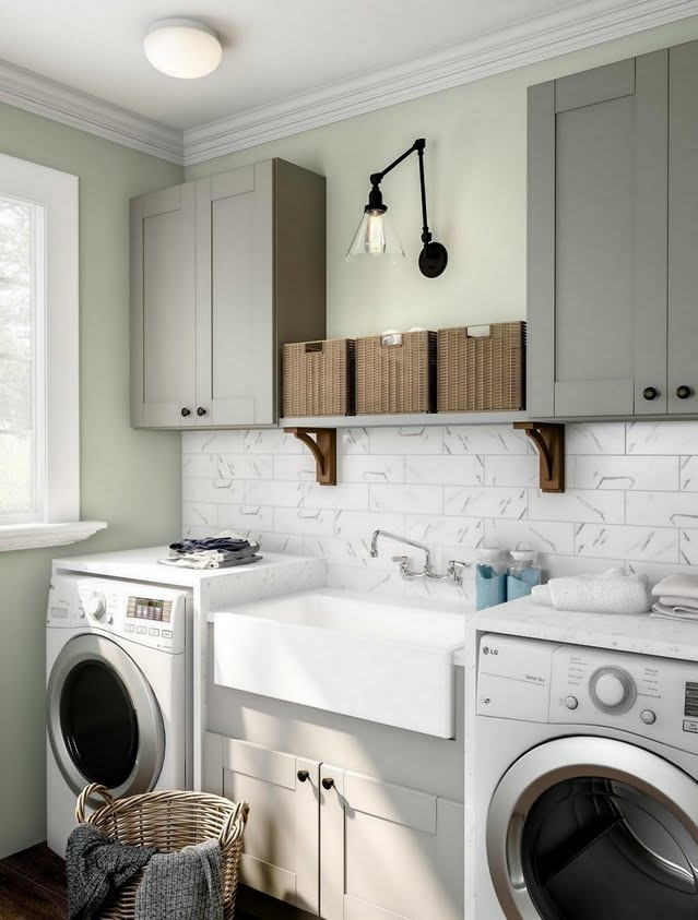 Modern Gray and White Laundry Room