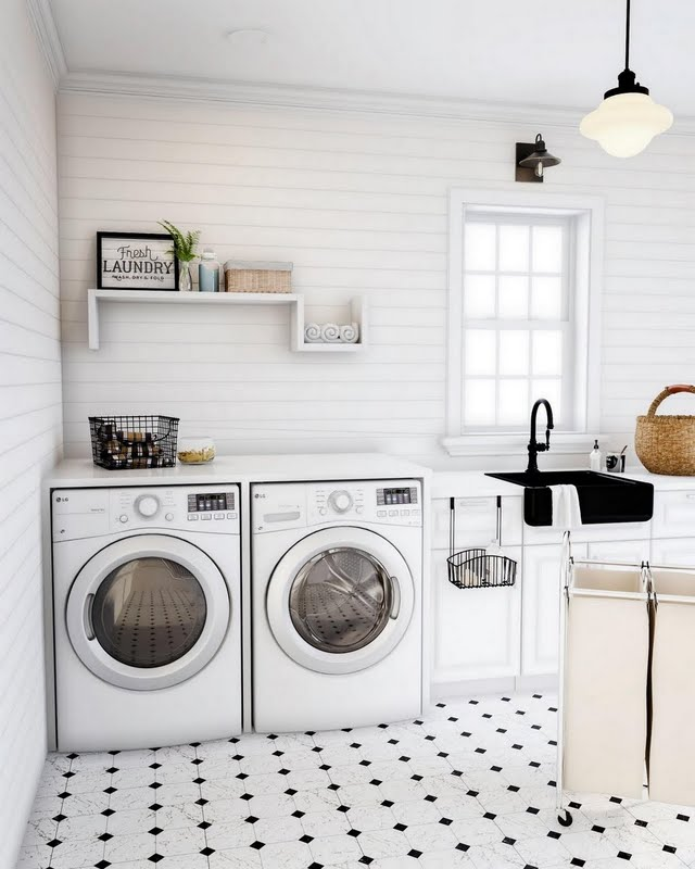 Cream Square and Dot Laundry Room