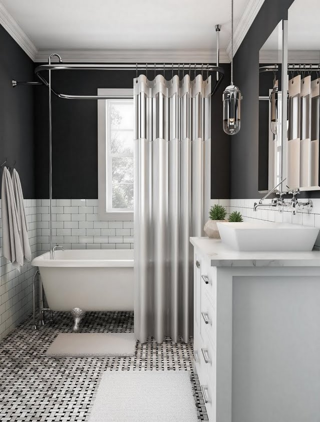 Charcoal Bathroom with Exposed Fixtures